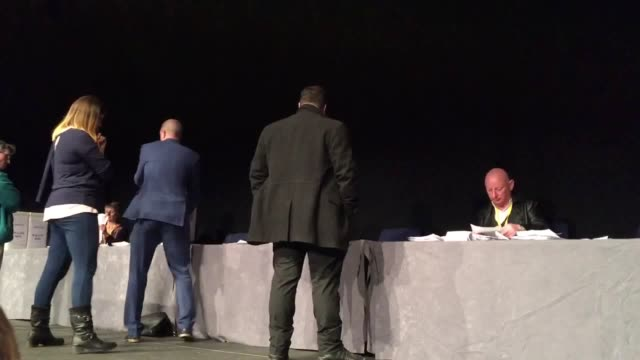 GVs of votes being counted at a Ukip emergency meeting in Birmingham where party members will decide whether Henry Bolton has a future as leader of...