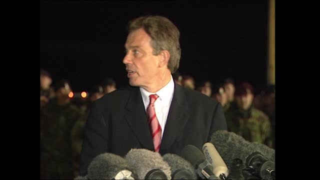 gvs tony blair visits bagram airbase; afghanistan: bagram: bagram airbase: int 00:59:24 hamid karzai and prime minister tony blair along to podium in... - bagram stock videos & royalty-free footage