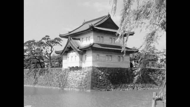 gvs walls and moat surrounding tokyo's imperial palace; 1964 - moat stock videos & royalty-free footage