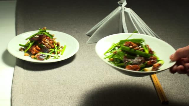 'gwamegi' (half-dried billfish) seasoned with nuts on the table - napkin stock videos & royalty-free footage