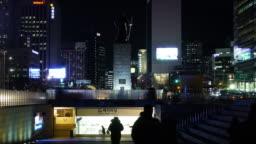 Gwanghwamun Plaza Korea General Lee Sunshin Seoul Night Time Laps Great Lighting