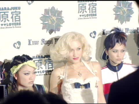gwen stefani and the harajuku girls at the gwen stefani previews 'harajuku lovers' apparel line at the hollywood museum in hollywood, california on... - gwen stefani stock videos & royalty-free footage
