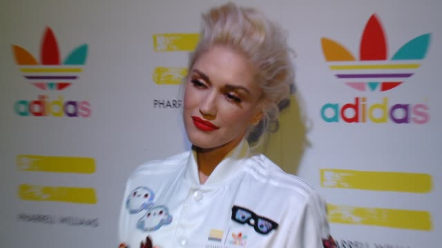 gwen stefani at pharrell williams and adidas celebrate collaboration in los angeles ca - conceptual symbol stock videos and b-roll footage