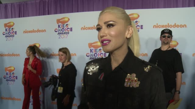 gwen stefani on how she feels to be attending the kcas, talks about her show on nickelodeon and if she's opening to being slimed at galen center on... - gwen stefani stock videos & royalty-free footage