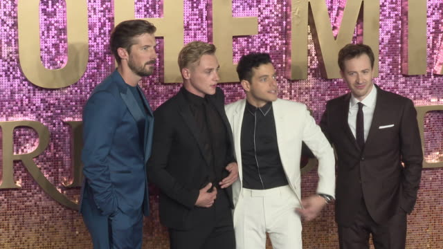 Gwilym Lee Ben Hardy Rami Malek and Joe Mazzello at Bohemian Rhapsody World Premiere at Wembley Arena on October 23 2018 in London England