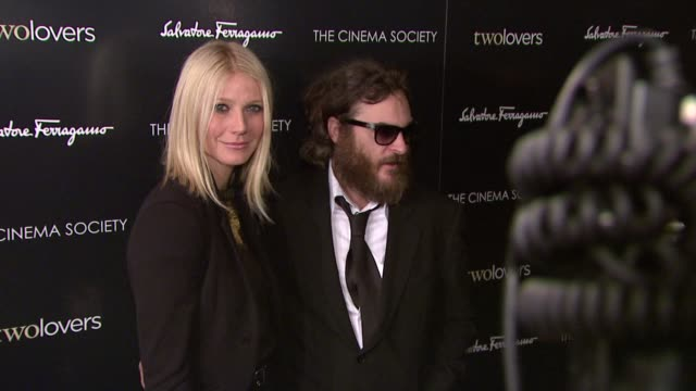 gwyneth paltrow and joaquin phoenix at the magnolia pictures and the cinema society present premiere of two lovers at new york ny. - 2009 stock videos & royalty-free footage