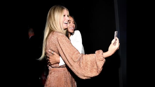 Gwyneth Paltrow and Zoe Saldana attend the premiere of Disney and Marvel's 'Avengers Infinity War' on April 23 2018 in Los Angeles California