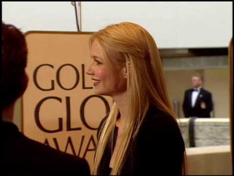 gwyneth paltrow at the 1999 golden globe awards at the beverly hilton in beverly hills, california on january 24, 1999. - 1999 stock videos & royalty-free footage