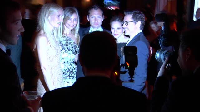 Gwyneth Paltrow Cameron Diaz Jude Law and Robert Downey Jr at the 2011 Vanity Fair Oscar Party Inside at Hollywood CA