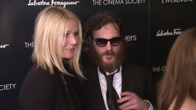 gwyneth paltrow, joaquin phoenix and vinessa shaw at the magnolia pictures and the cinema society present premiere of two lovers at new york ny. - 2009 stock videos & royalty-free footage