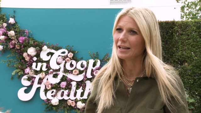 gwyneth paltrow on the benefits of the event and brand at the in goop health summit on may 18, 2019 in los angeles, california. - グウィネス・パルトロー点の映像素材/bロール