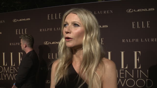 gwyneth paltrow on the event and being honored at the elle's 26th annual women in hollywood celebration presented by ralph lauren and lexus in los... - グウィネス・パルトロー点の映像素材/bロール