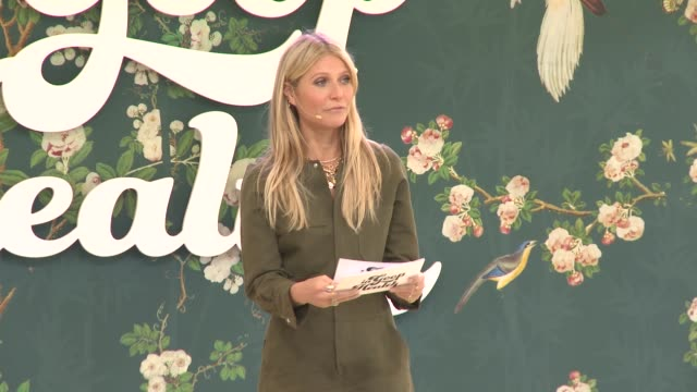 gwyneth paltrow on welcoming everyone to the event and setting up the day at the in goop health summit on may 18, 2019 in los angeles, california. - グウィネス・パルトロー点の映像素材/bロール