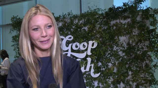 interview gwyneth paltrow on women she admires on the weirdest wellness thing she's tried at in goop health summit new york 2019 at pier 17 on march... - gwyneth paltrow stock videos & royalty-free footage