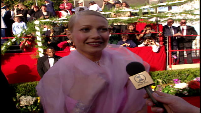 vídeos y material grabado en eventos de stock de gwyneth paltrow talking about how she is looking forward to the musical performances - 71ª ceremonia de entrega de los óscars