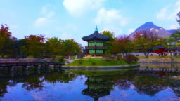 Gyeongbokgung palace, Hyangwonjeong Pavilion, in autumn Seoul,South Korea