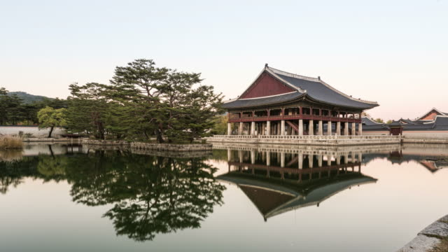 Gyeonghoeru pavilion at Gyeongbokgung Palace and its reflection on water