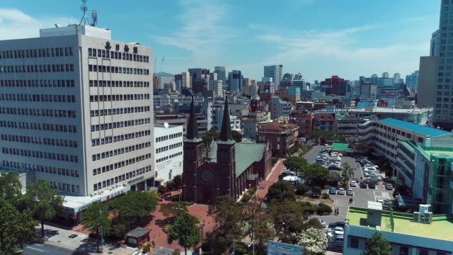 vídeos y material grabado en eventos de stock de gyesan catholic church / jung-gu, daegu, south korea - señal de nombre de calle