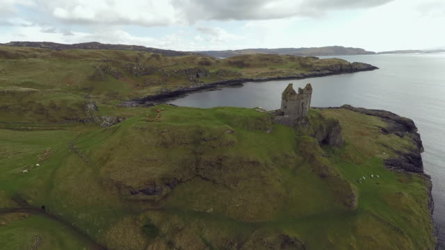gylen castle in kerrera island scotland, aerial view of valley and coastline - scotland stock videos & royalty-free footage