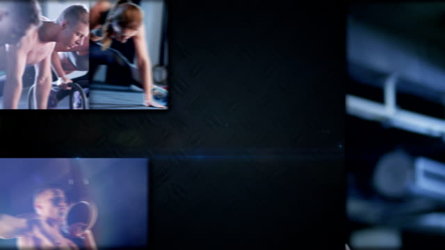 vídeos y material grabado en eventos de stock de crossfit pantalla dividida - pantalla dividida