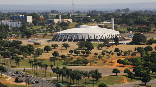 t/l, ws, ha, gymnasium and sports center, brasilia, brazil - fan palm tree stock videos & royalty-free footage