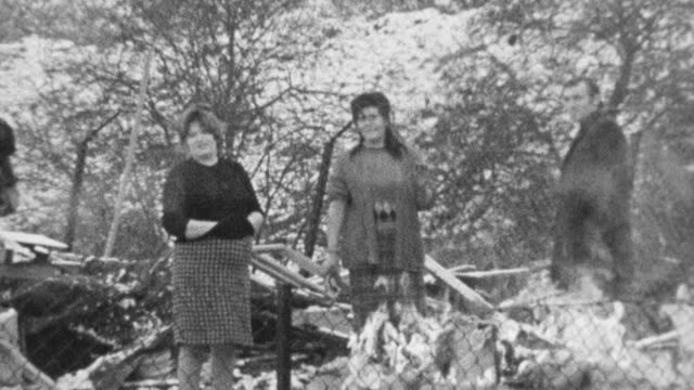 1972 montage gypsies talking by open fire, and holding and backing a horse between the shafts of a wagon / bushey, england, united kingdom - minoranza video stock e b–roll