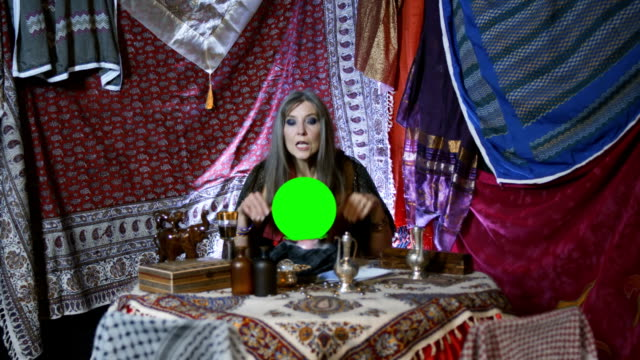 gypsy fortune teller with chroma key globe - tea pot stock videos and b-roll footage