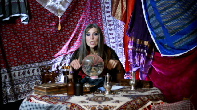gypsy fortune teller with earth globe - caucasian appearance stock videos & royalty-free footage