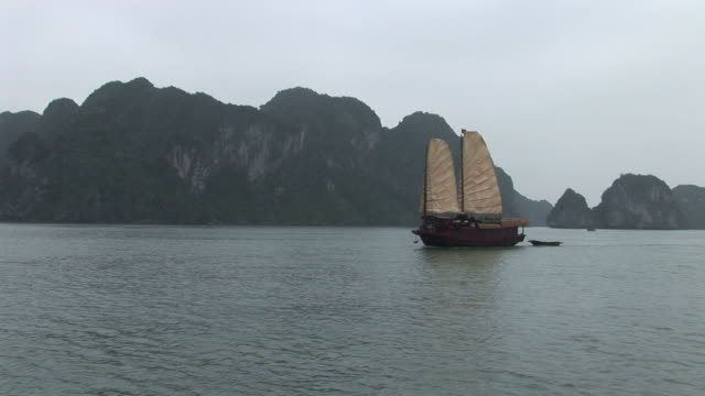 Ha Long Bay, VietnamView of a Junk from a moving boat in Ha Long Bay Vietnam