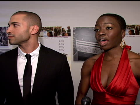 haaz sleiman and danai gurira talking about tonight's red carpet their roles in the film and working with director tom mccarthy at the 'the visitor'... - danai gurira stock videos and b-roll footage