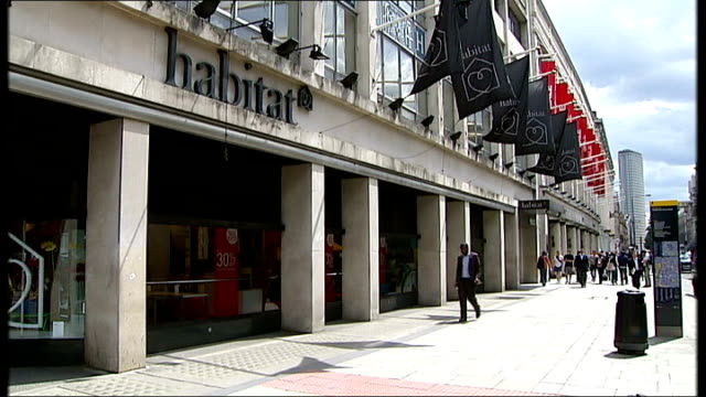 habitat goes into administration; ext general view of flagship habitat store on tottenham court road - tottenham court road stock videos & royalty-free footage