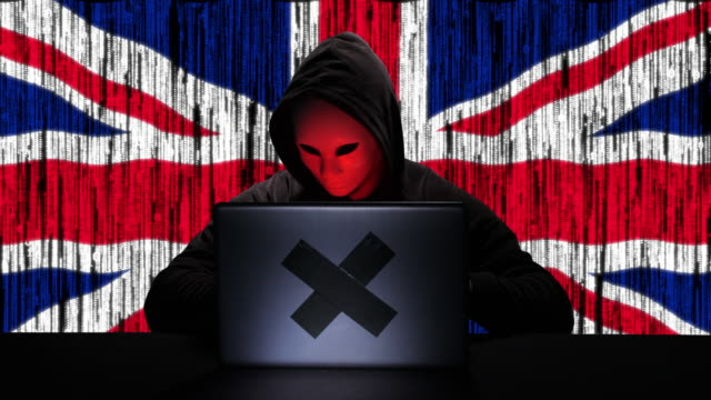 hacker hacking typing code on his laptop with uk united kingdom flag and binary code animation overlay in background - hacker stock videos and b-roll footage