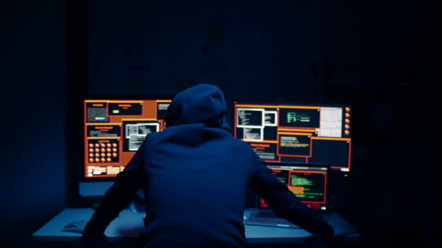 hacker operation workplace with anonymous in hood - crime stock videos & royalty-free footage