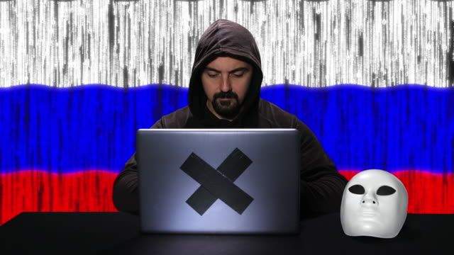 hacker typing code hacking on his laptop with russia flag with code animation overlay in background - russian culture stock videos & royalty-free footage