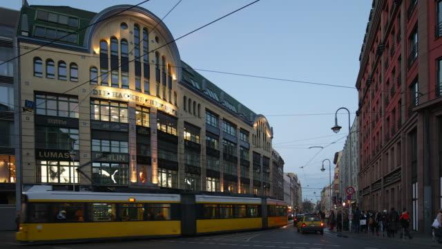 Hackescher Markt in Berlin Mitte Szene with Streetlife, Traffic and Train