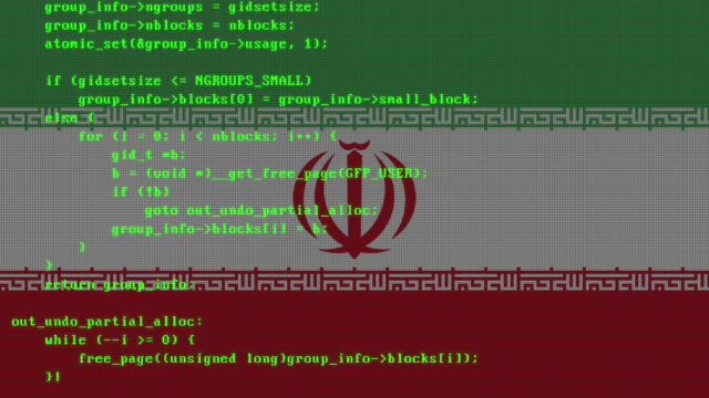 vidéos et rushes de code de piratage étant tapé sur l'écran numérique de moniteur de pc avec le drapeau iranien à l'arrière-plan - facilité d'accès