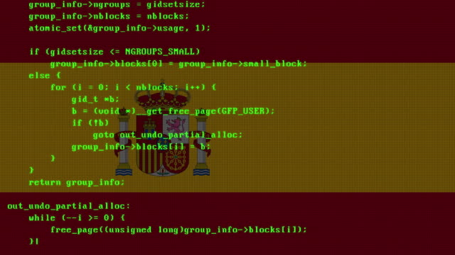 hacking code being typed onto pc digital monitor screen with spanish flag in the background - spanish flag stock videos and b-roll footage