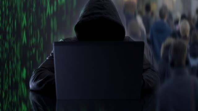 hacking. coding cyber threat. montage. - criminalità informatica video stock e b–roll