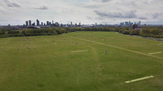 hackney marshes east london. the home of sunday league football with up to 82 football pitches and also cricket pitches - greater london stock videos & royalty-free footage