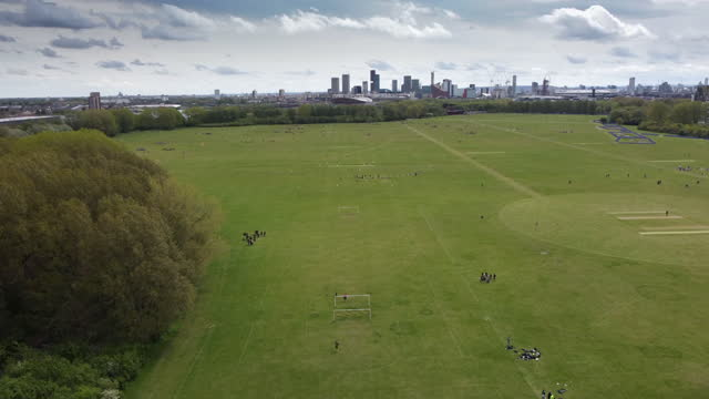 hackney marshes east london. the home of sunday league football with up to 82 football pitches and also cricket pitches - sunday stock videos & royalty-free footage