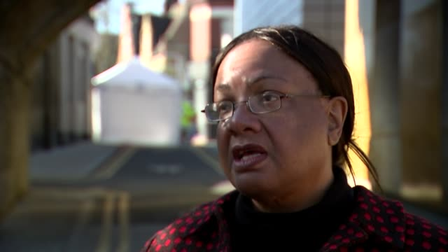 diane abbott interview england london hackney ext diane abbott mp interview sot various of police officers and forensics tent at scene of stabbing... - diane abbott stock videos & royalty-free footage