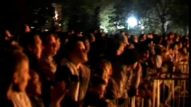 victoria park audience watching bonfire night fireworks display giant model of guy fawkes on fire - victoria park london stock videos & royalty-free footage