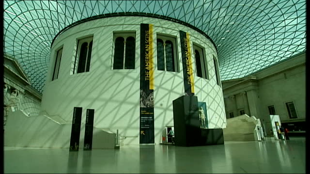 hadrian exhibition at british museum: general views; england: london: british museum: queen elizabeth ii great court: int general views of great... - british museum stock videos & royalty-free footage