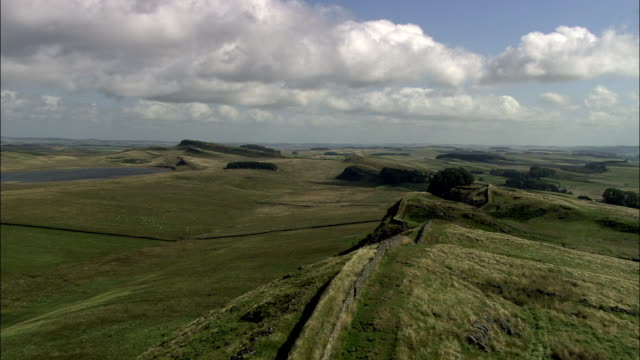 hadrian's wall  - aerial view - england, northumberland, melkridge, united kingdom - northumberland stock videos & royalty-free footage