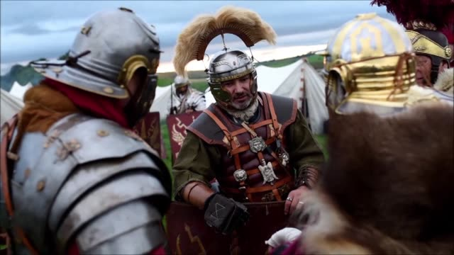hadrian's wall live features various events along the length of the world heritage site including a reenactment of a 143 ad battle between the romans... - historical reenactment stock videos & royalty-free footage
