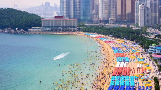 haeundae beach / haeundae, busan, south korea - busan stock videos & royalty-free footage
