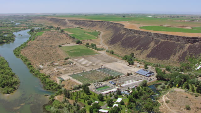ms aerial hagerman hatchery at snake river canyon / idaho, united states - river snake stock videos & royalty-free footage