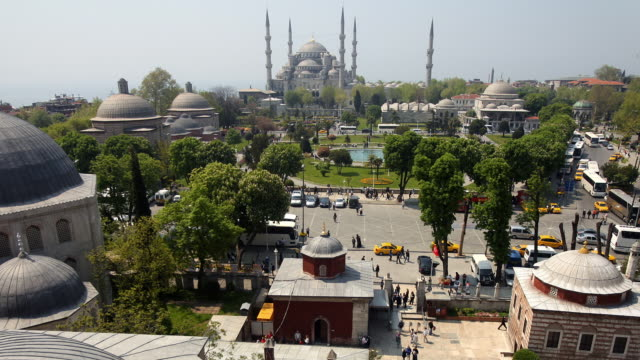 t/l ws ha haghia sophia roofs with tourists in distance, sultan ahmed mosque (blue mosque) in background, istanbul, turkey - sultan stock videos and b-roll footage