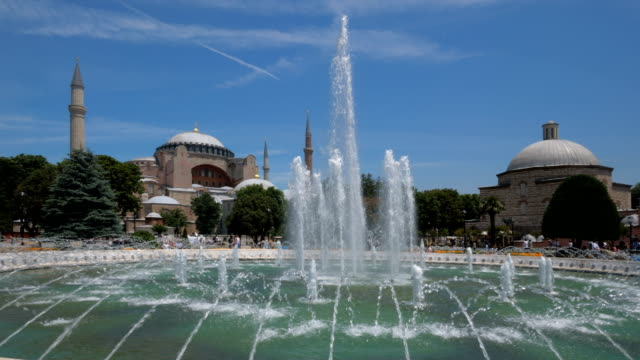 Haghia Sophia seen across the fountain of the Sultnahmet park