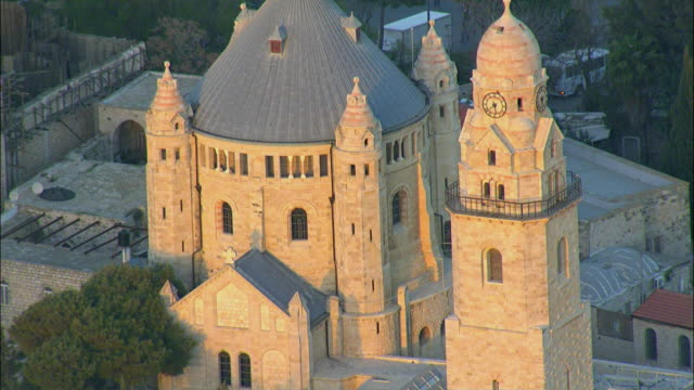 AERIAL ZO Hagia Maria Sion Abbey and cemetery on mount Zion / Jerusalem, Israel